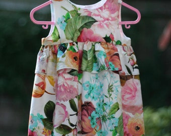 Baby tulip dress - made to order - party beach summer dress floral tropical girls sash ruffle by Climbing Rose