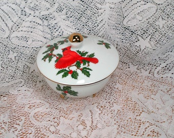 Vintage Lefton Covered Footed Candy Dish Cardinal and Holly