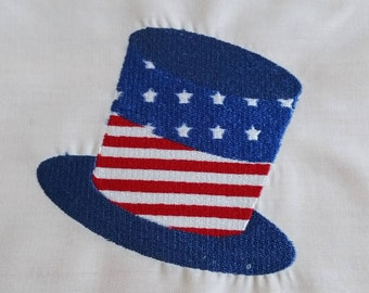 Patriotic Hat Embroidered Quilt block