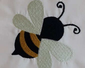 Bee Embroidered Quilt block