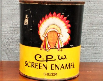 Vintage Screen Enamel Tin - Indian Advertising Tin - Paint Tin - American Indian Advertising - Chicago Paints - CPW Screen Enamel