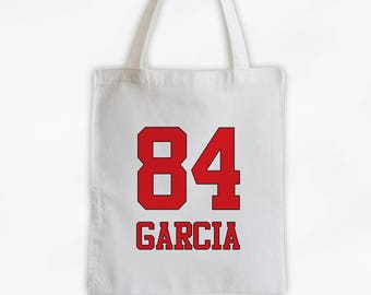 Athlete Name and Number Cotton Canvas Tote Bag - Team Colors Personalized Sports Bag in Red  (3032)