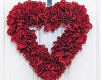 Valentine Wreath - Burgundy Red Burlap Wreath - Spring Wreath - Wedding Wreath - Home Decor - Heart Wreath - Valentine's Day Door Decor