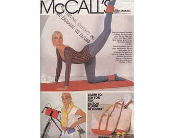 Vintage 1980s Fitness Accessories McCalls 8365 Tote Bag in Two Sizes, Bicycle Bag, Wrist Band Wallet, Yoga Mat, Wrist Weights, Shoe Purse