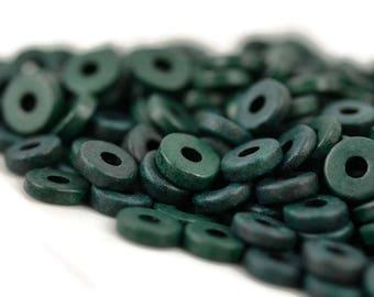 Mykonos 8mm Washer Round Washer - Dark Green - Greek Ceramic Beads - QTY: 50, 100 or 150