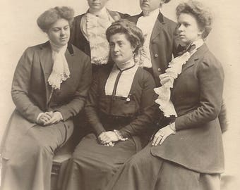 "Vintage Snapshot ""Minnie's Court"" Stout Victorian-Era Women Upswept Hair Lacy Blouses Found Vernacular Photo"