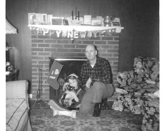 "Vintage Snapshot ""Happy New Year"" Siamese Cat Little Girl & Father Fireplace Banner Mid-Century Found Vernacular Photo"
