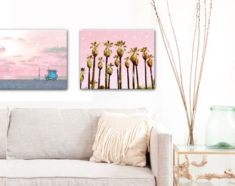 Beach Art Canvas Set Small, Nursery Decor Pink, Pink Beach, Lifeguard Tower, Palm Tree, Beach Decor, Pastel Print, GIft Idea, Affordable