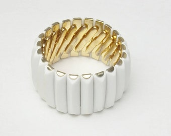 White Thermoset Stretch Vintage Cuff Bracelet 1950s Mid Century Costume Jewelry Gift For Her Best Deal on Etsy