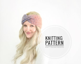Knitting Pattern | Turban Twist Headband Ear Warmer /  Easy Beginner Knit Pattern / Thick Warm Fall Fashion Winter Style Easy Pattern