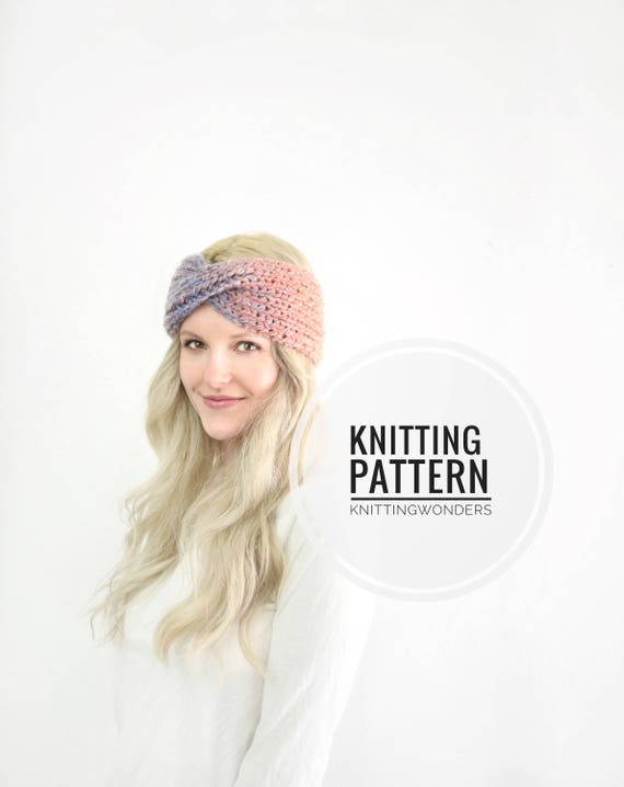 Knitting Pattern Turban Twist Headband Ear Warmer / Easy