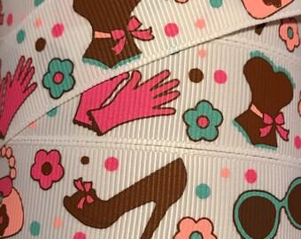 7/8 Inch Grosgrain Ribbon - Printed Grosgrain Ribbon - High Heels Sunglasses Ribbon - Ribbon By The Yard - Supplies - High Fashion Ribbon