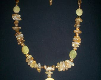 Citrine, Tigers Eye, Agate, Pearls, Faceted Crystal Glass and Czech Fire Polished Beaded Necklace;  Yellow, Gold, OOAK