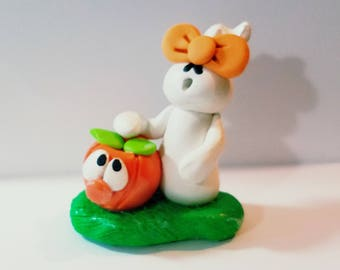 Polymer clay Halloween, polymer clay, ghost and pumpkin hand sculpted,