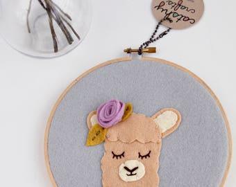 Llama Wall Art / Boho Nursery / Nursery Wall Art / Embroidery Hoop Art / Boho Llama / Bohemian Decor / Animal Wall Art / Floral Wall Art