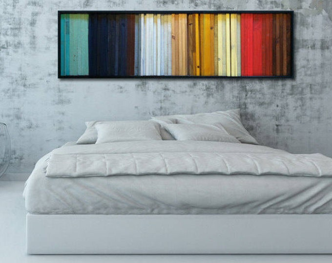 "Modern Wood Wall Art - ""Gradient""- Wood Stripes in Red, Yellow, Brown, Teal - Reclaimed Wood Wall Sculpture - Abstract Wood Art"