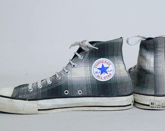 80s Converse Plaid High Top Made In USA Chuck Taylor Converse Allstars, 9.5 Mens