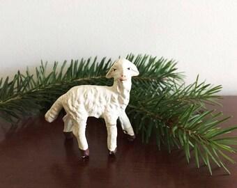 Mini Chalkware Lamb / Vintage Nativity Animal / Christmas Lamb Figurine / Has Booboo Repair