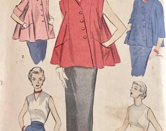"""Vintage 1950s Advance Misses' Maternity Suit Pattern 5847 Size 12 (30"""" Bust) XXS"""