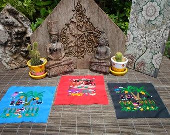 Embroidered Hmong Folk Art Textile,Set Of 3,  Hand Made Embroidered Textile, Hmong Textile , Tribal Textile