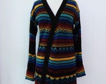70's Space Dye Stripe Hippie Sweater Butterfly Tulip Boho Intarsia Knit Long Sweater Coat Jacket L