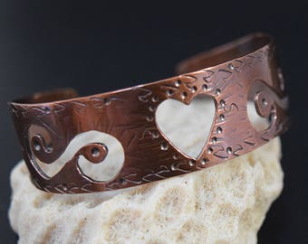 Copper Cuff Bracelet with Heart and Swirls