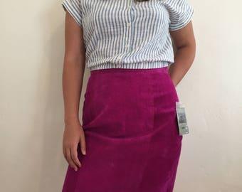 Magenta Suede Pencil Skirt Waist 29/30