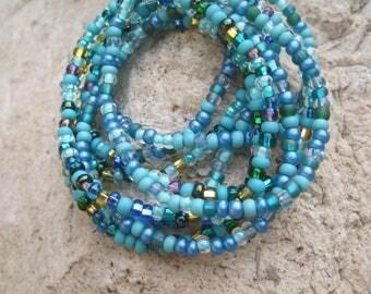 Ocean Blue Gypsy Boho Stretch Stacker Bracelet Set of 9 - Hippie Bracelet Set - Bohemian Stacker Beaded Bracelet Set