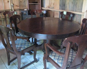Empire Mahogany Round Dining Room Table with Eight Chairs