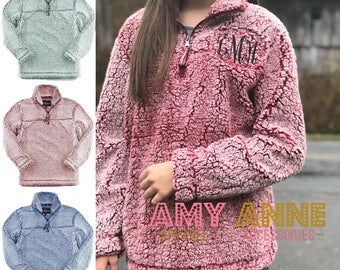 Sherpa Quarter Zip Monogrammed Heathered Fleece Pullover Sweatshirt ~ Sorority ~ Blogger Favorite ~ Warm ~ Trendy