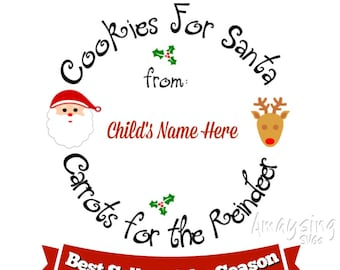 SVG - Cookies for Santa - Christmas svg - Christmas Cookies svg - Cookies and Milk for Santa svg - Cookie Plate svg - Santa and reindeer svg