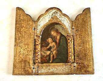 Vintage Triptych Gold Gilt Botticelli Madonna and Child Florentia Made in Italy Gesso Wooden Trifold Religious Icon Collectible Shrine Decor