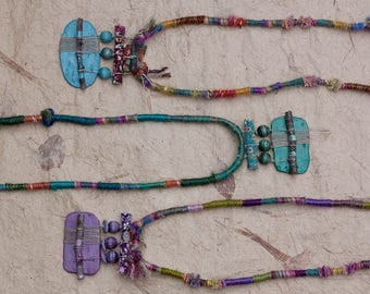 Rustic boho necklace, statement mixed media jewelry, extra long fiber necklace with twigs, clay and wooden beads, blue, green, purple, OOAK