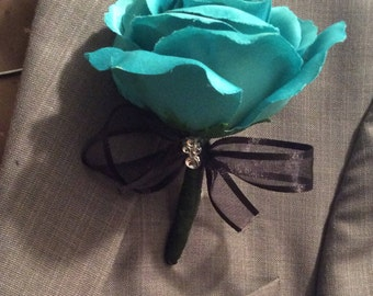 Men's Boutonniere, Teal Rose With Black Ribbon and Rhinestone Accent, Groomsmen Flower Lapel