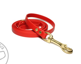 """Poppy Red Small Dog Leash - 1/2"""" (12mm) Wide Biothane Leash - Thin Leash - Choice of: 4ft, 5ft or 6ft (1.2m, 1.5m, 1.8m) and Hardware Type"""