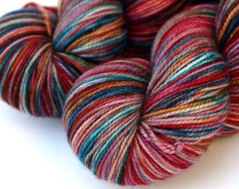 "Kettle Dyed Sock Yarn, Superwash Merino, Cashmere and Nylon Fingering Weight, in ""Magic Carpet"""
