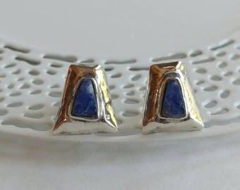 Rustic Vintage Sodalite & Sterling Silver Trapezoid Shape Stud Earrings- Post Back Handmade Primitive Blue White Chunky Funky