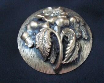 Large Art Nouveau Floral Repousse Bronzed Brooch / Vintage Jewelry / Jewellery