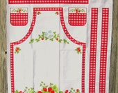 Apron Panel Fabric, Cottage Kitchen Apron in Red and White with Strawberries, Cottage Kitchen Collection by Fabri-Quilt, Inc #112A-1124