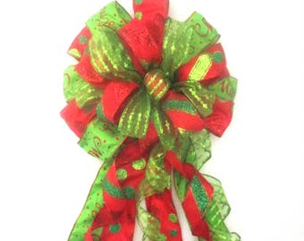 Red and Green Bow / Christmas Bow / Tree Topper Bow / Wreath Bow / Tree Topper