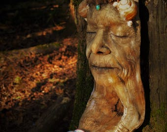 Reserved for Heather, 1 of 3, Chamber of Peace, Elder Woman Driftwood Sculpture with Incense Candle Holder, By ShapingSpirit