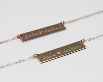 Custom Bar Necklace // Personalized