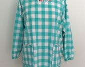 Painter's Apron Teal Blue Gingham,  Four Pockets, Long Sleeve Smock, Artist Apron, Full Coverage, Painters Smock, Cotton and Steel Checkers