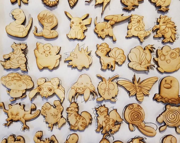 First Generation Pokemon Pin | Laser Cut Jewelry | Wood Accessories | Wood Pin