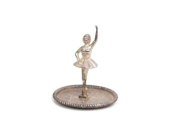 Vintage Ballerina Ring Holder Silver Plated Jewelry Storage Vanity Accessory Organizer Dish Little Girls Room Ballet Dancer