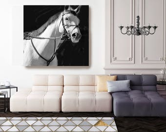 "White Horse 2. Large Horse, Unique Horse Wall Decor, White Black Horse Photography, Large Contemporary Canvas Print up to 48"" by Irena Orlov"