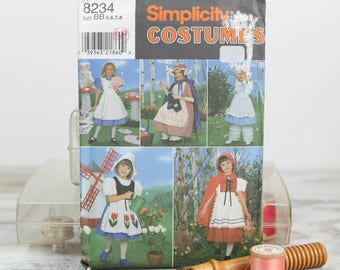 Child Sizes 5, 6, 7, 8, Alice in wonderland, Martha Washington, Little Bo Peep, Red riding Hood, Simplicity  (8234) Sewing Pattern