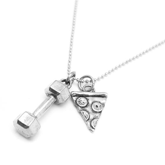 Weightlifting Will Lift for Pizza Dumbbell Charm Necklace - Nickel Free Gym Jewelry - Workout Accessories - Gym Necklace - IIFYM