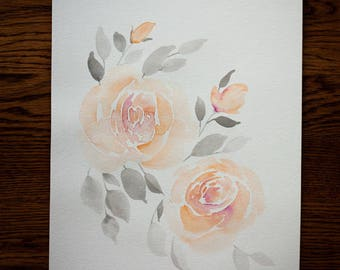 Blush and Peach Watercolor Roses