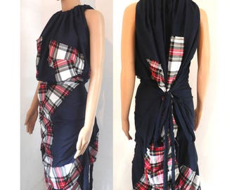 BURBO 'Excentrica' Dress with Tartan Applique